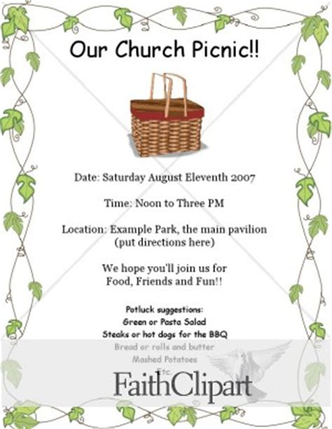 church picnic flyer templates church picnic flyer template