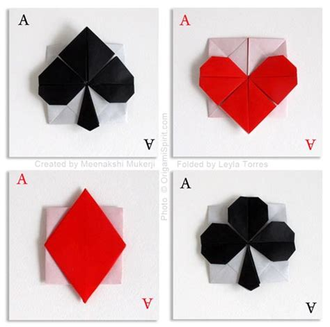 Origami Card - cards symbols a clever origami style