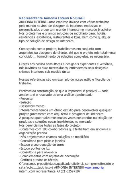 armonia interni representante armonia interni no brasil