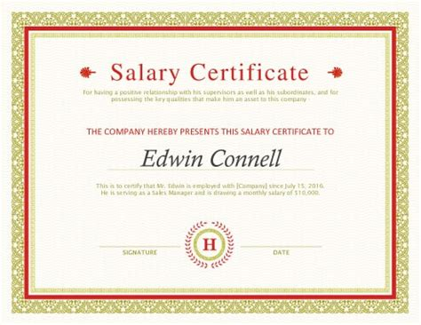 letter of acceptance printable salary certificate templates free 1377