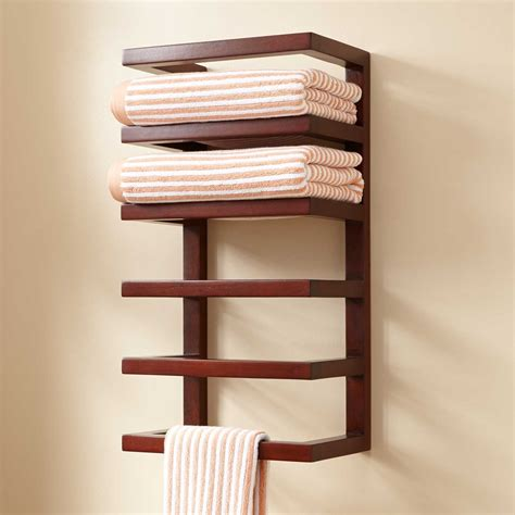 Wall Towel Holders Bathrooms by Mahogany Hanging Towel Rack Towel Holders Bathroom