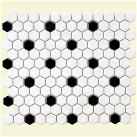merola tile metro hex glossy white with black dot 10 1 4