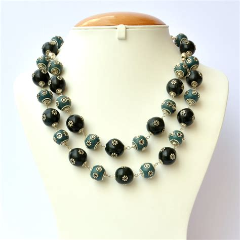 Handmade Necklaces - handmade necklace with blue black metal