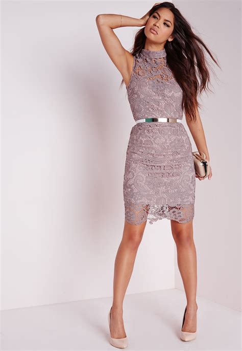 Mauve Bodycon Dress - lyst missguided lace sleeveless high neck bodycon dress