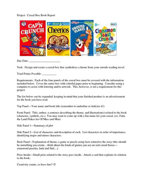 23 Best Book Reports Images On Pinterest Book Reports Book Reviews And Cereal Boxes Project Book Template