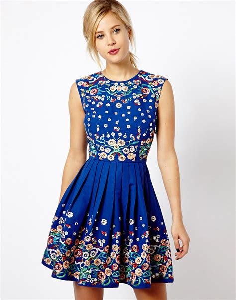 asos asos skater dress with floral embroidery at asos