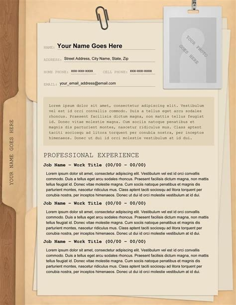 manila folder resume manila resume templates and words