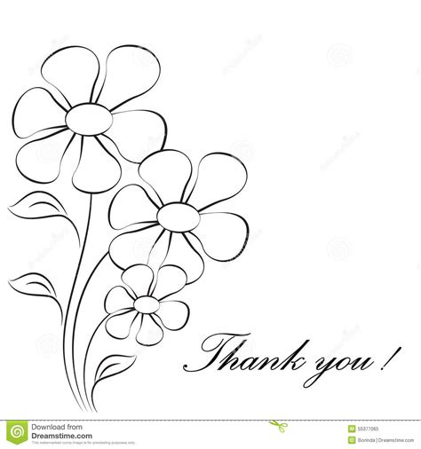 thank you card template pages flower illustrations thank you card stock illustration