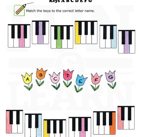 kindergarten activities music keyboard worksheet abcdefg spring keyboard