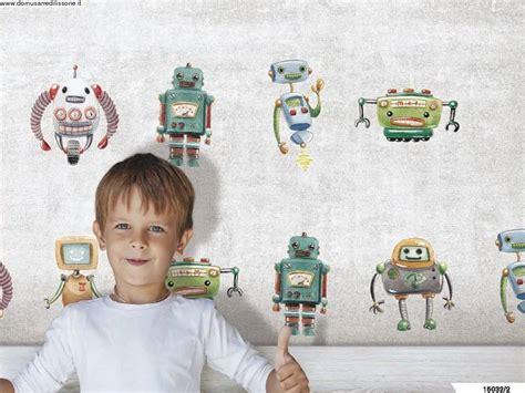 tappezzeria bambini carta da parati colorata cameretta con robot