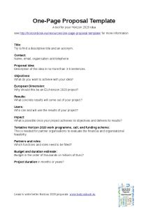 1 Page Proposal Template One Piece One Page Description Template