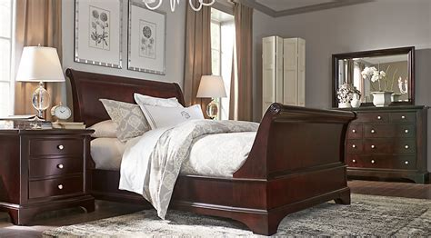slay bedroom set whitmore cherry 6 pc king sleigh bedroom bedroom sets dark wood
