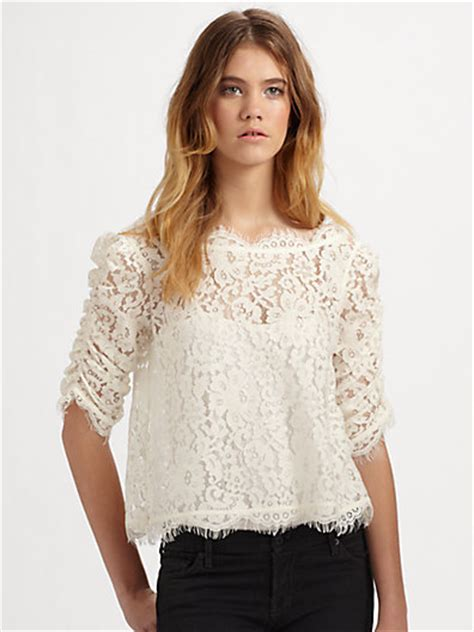 Yolanda Top Blouse yolanda foster s white lace blouse big hair
