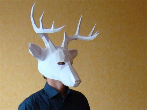 Deer Mask Stag Mask Printable Diy Pdf Template Party Mask Papercraft Deer Template