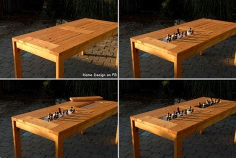 Diy Patio Table With Built In Beer Wine Coolers Home Patio Table With Cooler