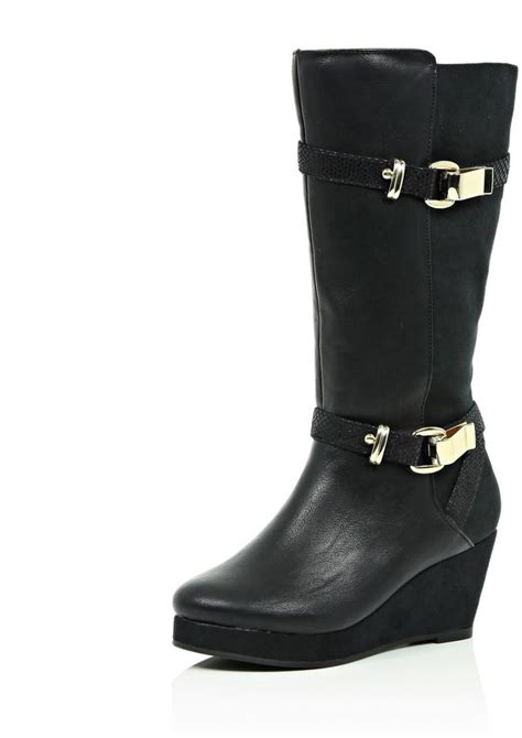 river island black knee high wedge boots shopstyle