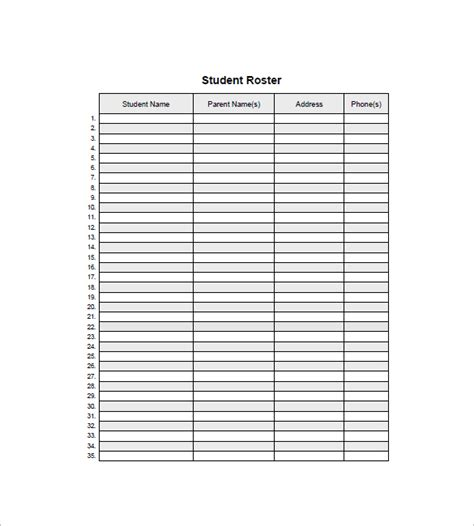 student roster template top 4 resources to get free student list templates word