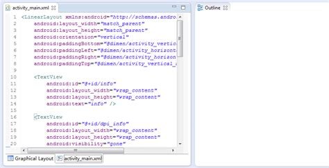 layout xml view eclipse with adt 22 6 0 outline view is empty when a