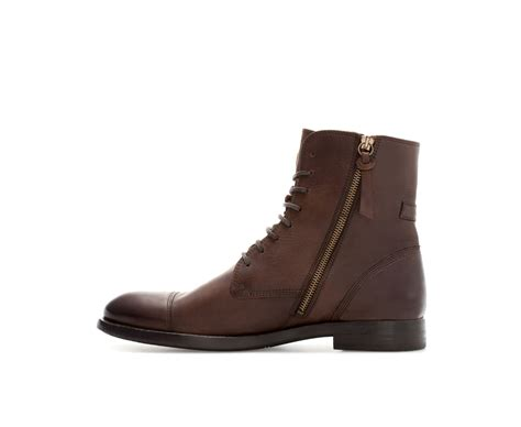 zara leather captoe boot in brown for lyst