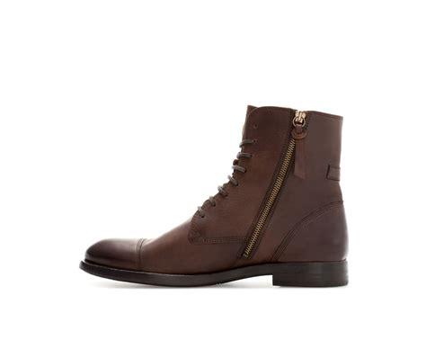 zara boot zara leather captoe boot in brown for lyst