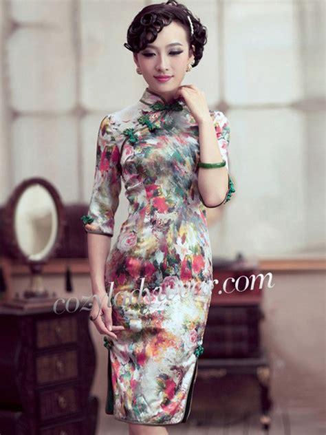 Sleeve Floral Qipao Dress 3 4 sleeves mid floral silk qipao cheongsam