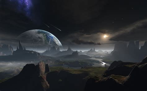 cosmos sci fi earth atmosphere moon plantets star sunlight landscape full hd wallpaper and background 1920x1200