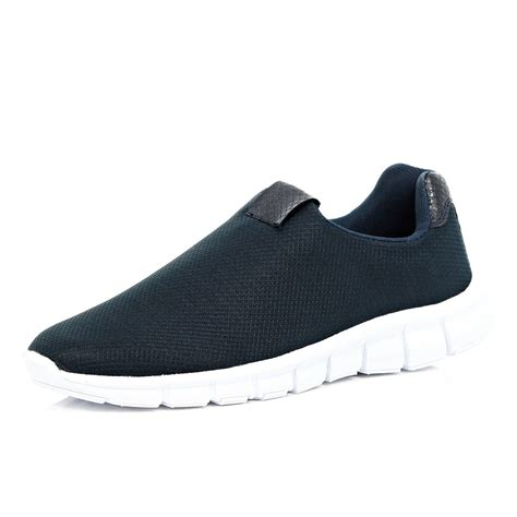 slip on navy river island navy slip on trainers in blue for navy