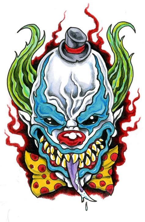evil tattoo flash evil clown by scottkaiser deviantart on deviantart