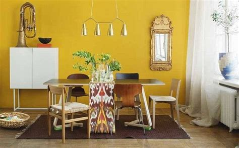Mustard Yellow Walls In Living Room Mustard Yellow Accent Wall Dining Room