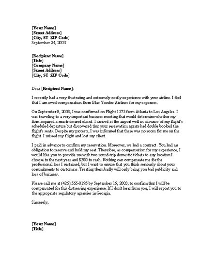 Complaint Letter Template Housing Association complaint letter about overbooked flight office templates