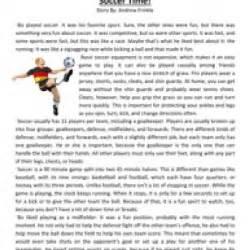 sixth grade reading comprehension worksheet soccer time