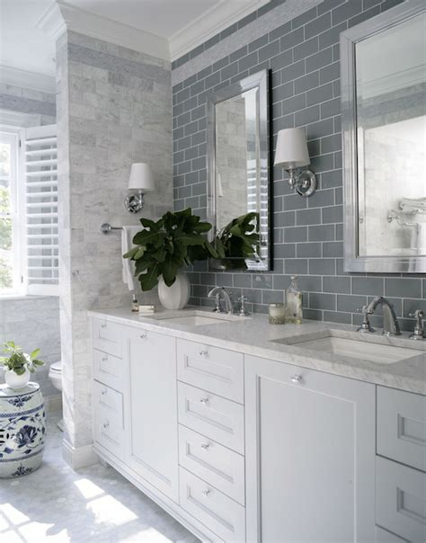 gray glass mosaic tiled backsplash transitional bathroom gray subway tiles transitional bathroom heather