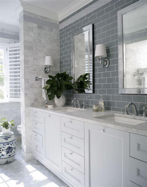 Bathroom Sconces Polished Nickel Gray Subway Tiles Transitional Bathroom Heather