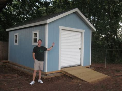 This 12x16 Shed With Gable Style Roof Has A 6 Wide 7 Overhead Shed Door