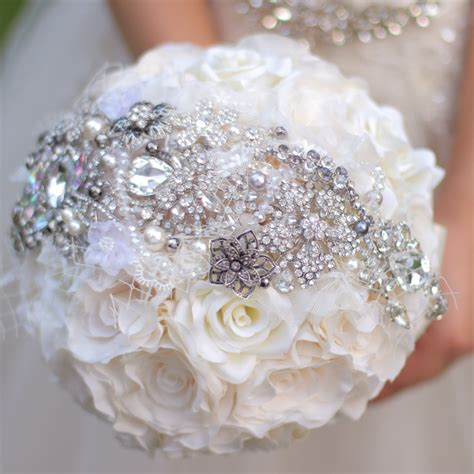 Wedding Bouquet Supplies by Ivory Roses Brooch Bouquet Silk Flower Bouquets Custom