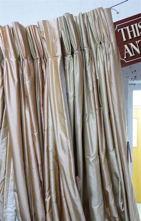 81 Curtain Road Curtains A Pair Gold And Copper Silk Stripe 292cm