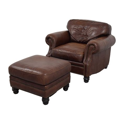 armchair with footstool 75 off brown leather studded armchair with matching
