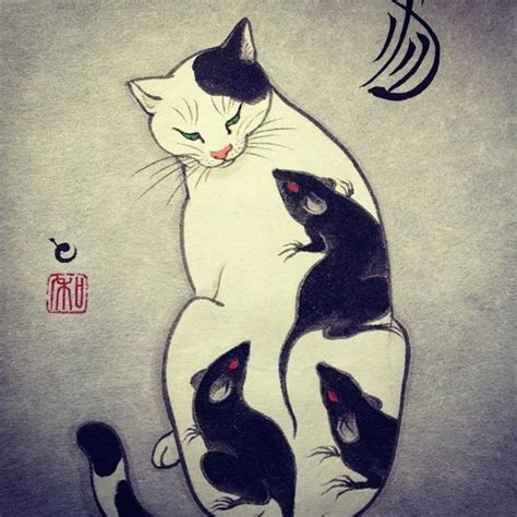 tattoo cat japanese monmon cats margot meanie