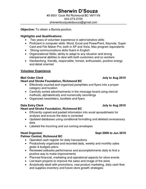 Resume Objective Exles Barista Resume Objective For Barista Free Resume Templates