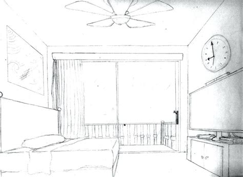 1 Point Perspective Bedroom - one point perspective drawing of a bedroom www
