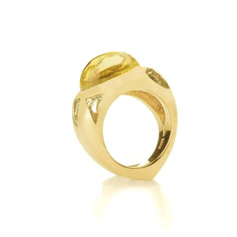 Handmade Gold Rings - lemon quartz gold ring handmade by saskia shutt