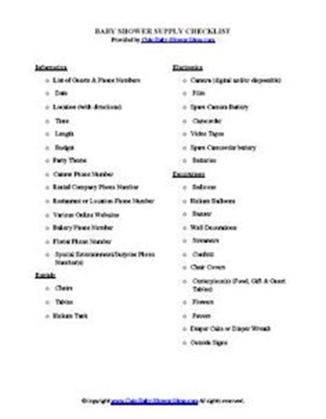 Checklist For Baby Shower Supplies by Baby Shower Ideas General On Plastic Flowers