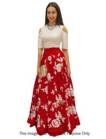 Buy red and white silk embroidered indo western lehenga suit online