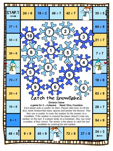 multiplication and division printable board games fun games 4 learning snowman math bump games freebies