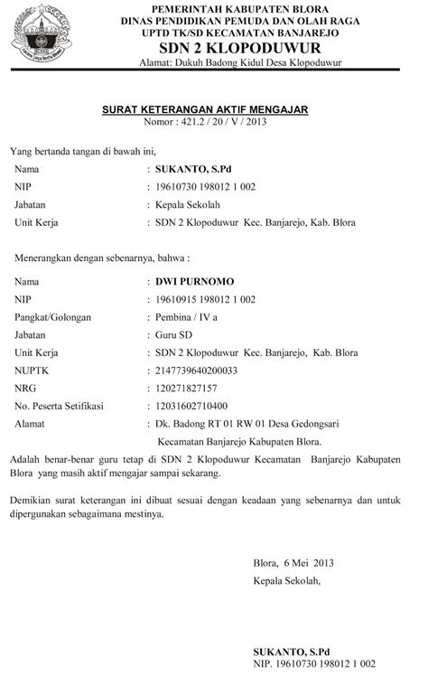 Contoh Surat Aktif Bekerja - Surat P