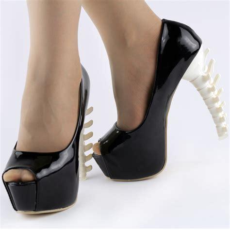 bone high heels black neon pink peeptoe bone high heels out club