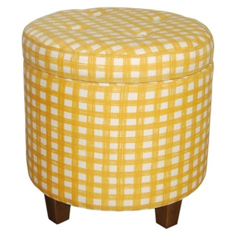 round yellow ottoman vintage round tufted storage ottoman yellow white gingham