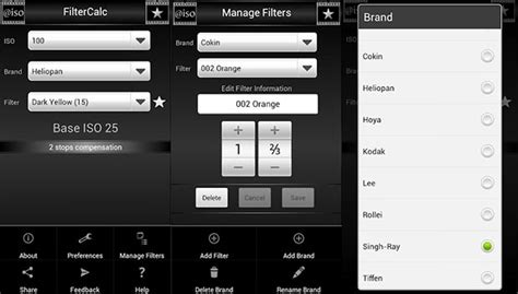 android filters filtercalc an android app for calculating the exposure