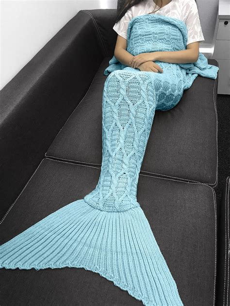 mermaid tail pattern blanket blankets throws light blue simple style solid color
