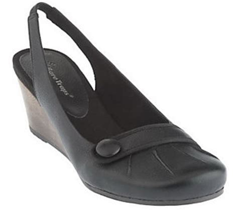 bare traps leather slingback wedge shoes qvc